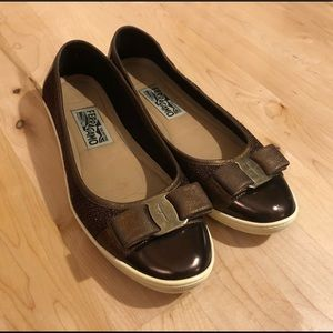 Brown Patent and Metallic Mesh Ferragamo Shoes